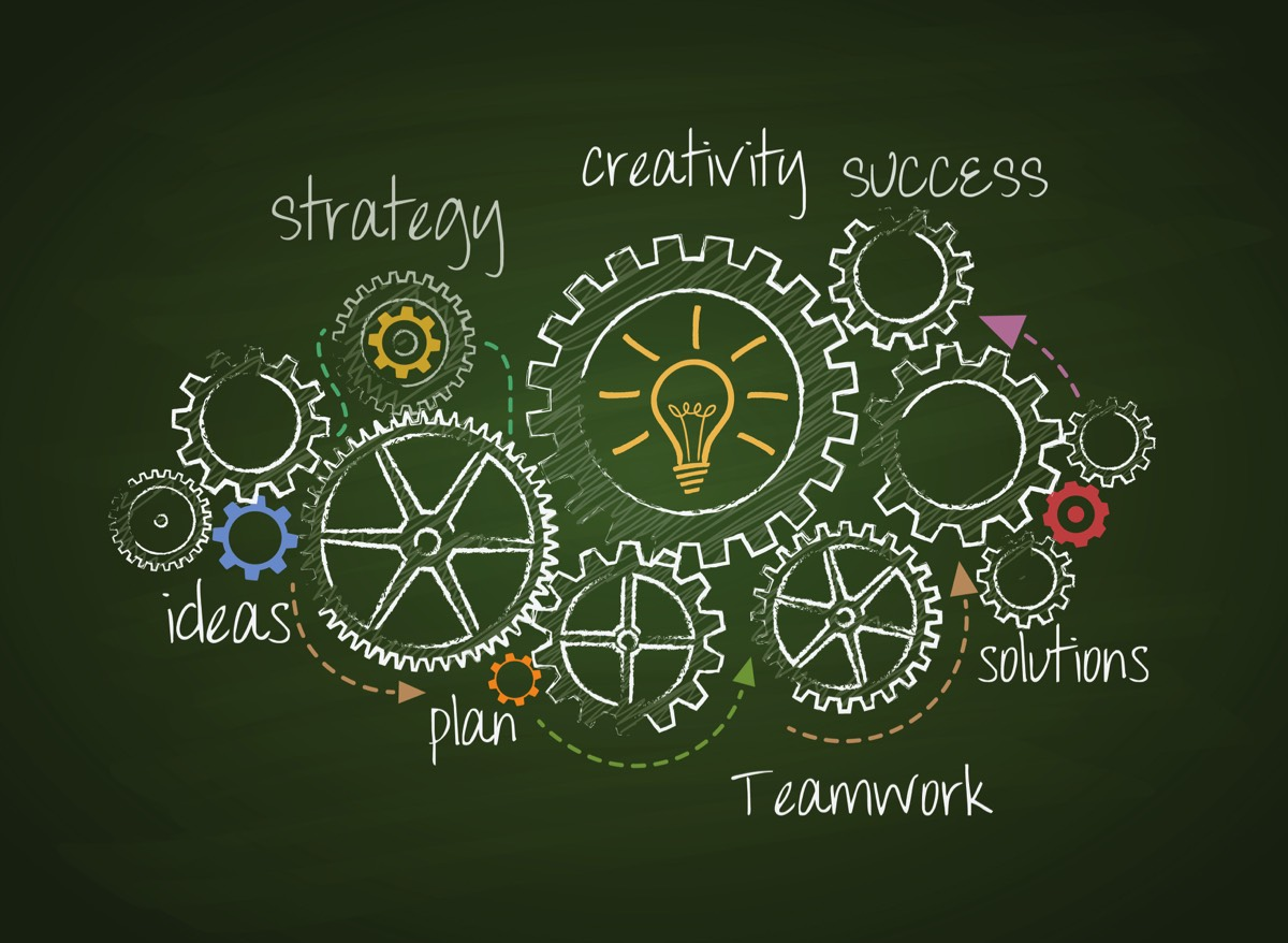 gears symbolizing the process of strategy, creativity, ideas, planning, teamwork, solutions and success